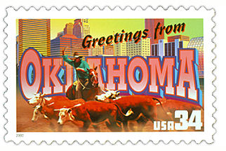 Official Oklahoma state stamp.