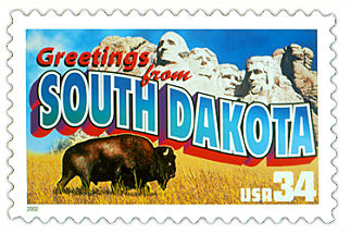 34 cent South Dakota state stamp.